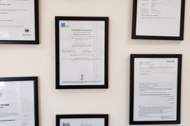 A few accreditations on our wall